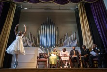Denitra Streeter (14) performs a ballet piece during a NAACP ceremony honoring foot soldiers in Fairfield, AL. A few dozens of people where honored in the first out of many scheduled similar events marking 50 years to the civil right movement clashes with the authorities in Birmingham.