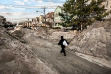 Israeli Ultra-Orthodox Jews visit the coastal area of Seagate neighborhood in Brooklyn. The main disaster areas attracted many visitors, as Hurricane Sandy was one of the biggest natural disasters ever to hit New York.